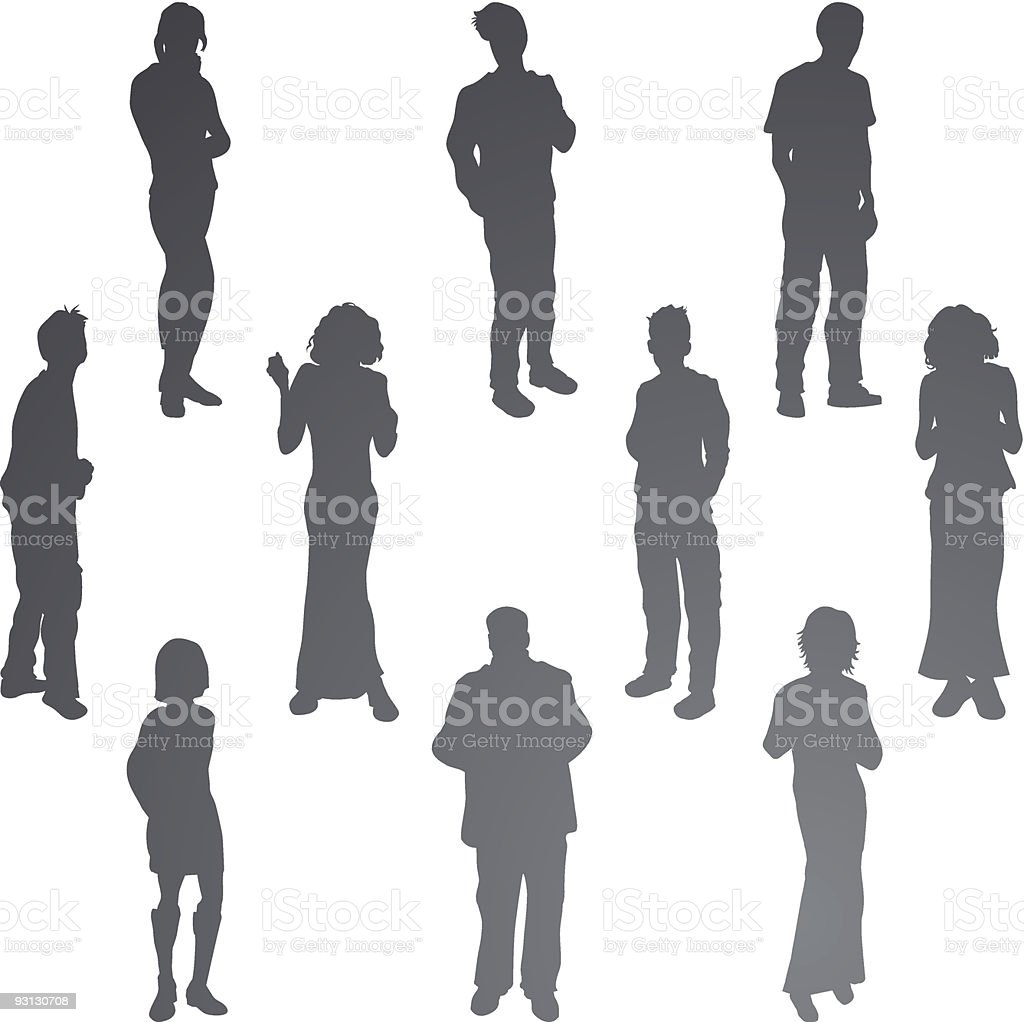 Young Friends Silhouettes royalty-free stock vector art