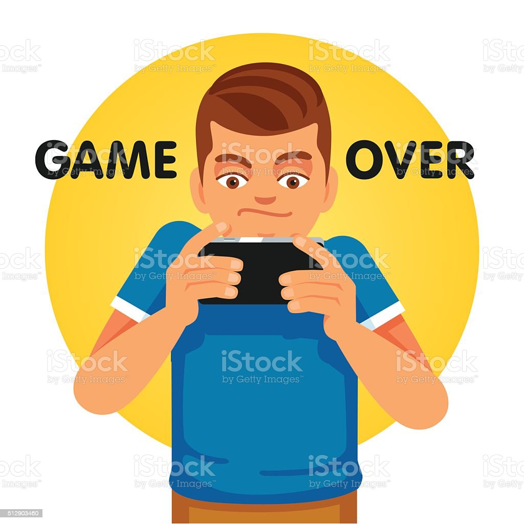 Young gamer unhappy about game over vector art illustration