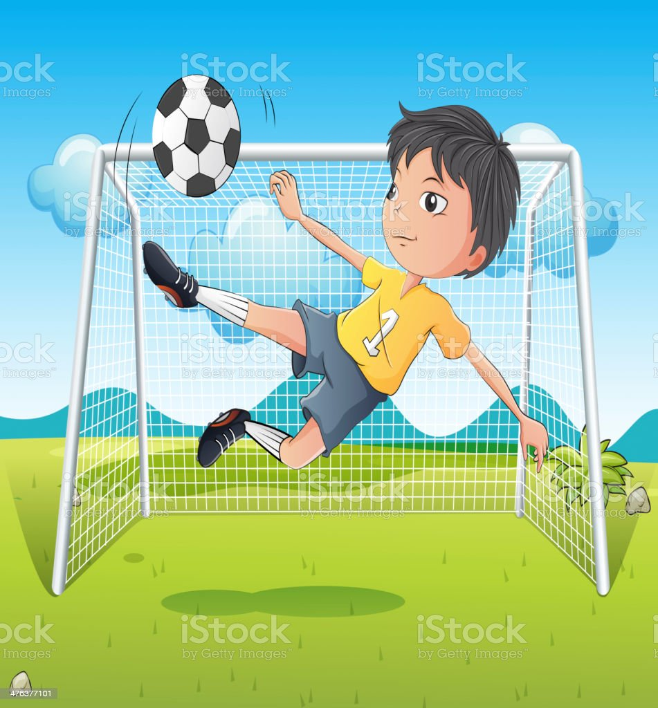 young gentleman kicking a soccer ball royalty-free stock vector art