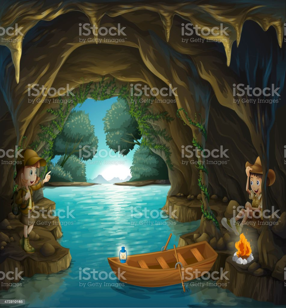 Young girl and boy inside the cave royalty-free stock vector art