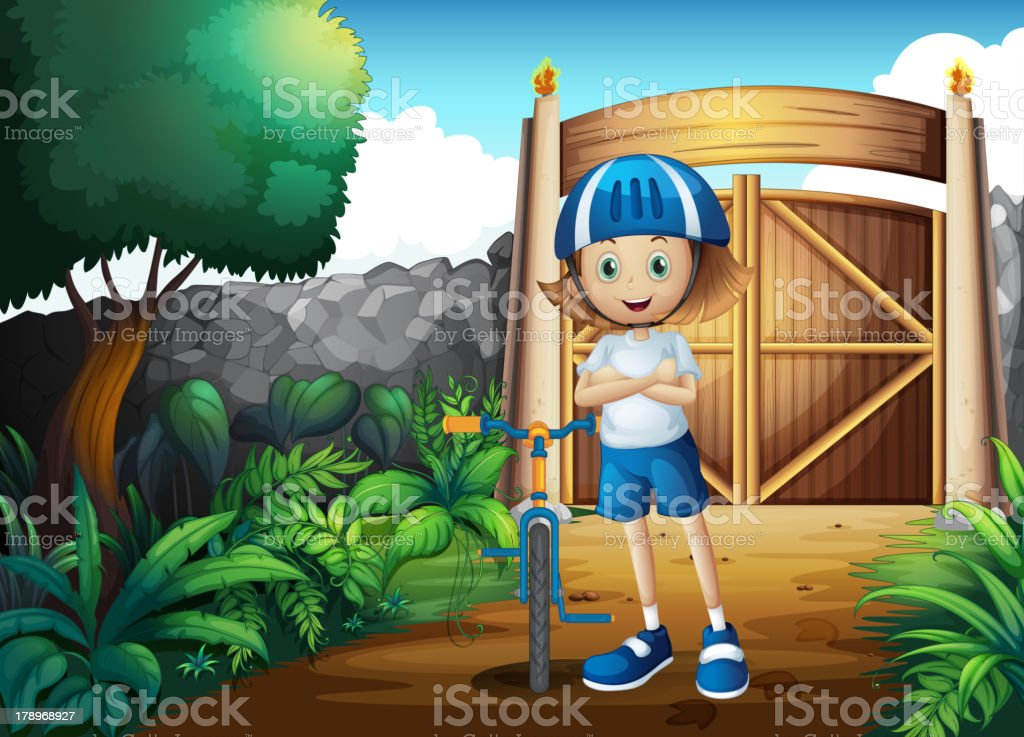 Young girl and her bike inside the gate royalty-free stock vector art