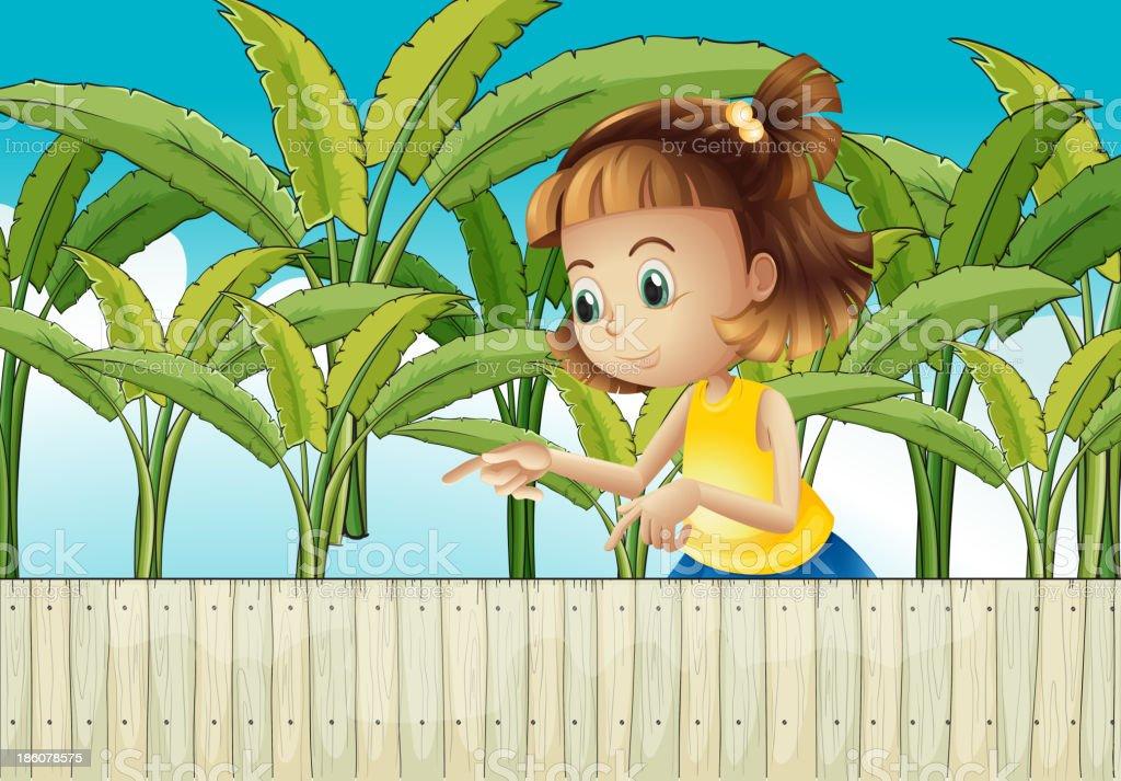 young girl at the banana plantation royalty-free stock vector art