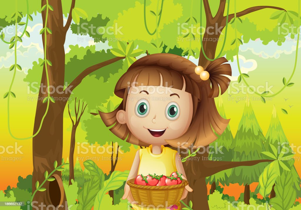young girl at the forest holding basket of strawberries royalty-free stock vector art
