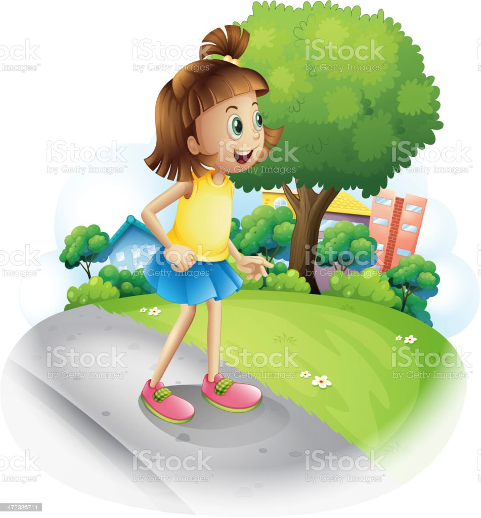 Young girl at the street royalty-free stock vector art