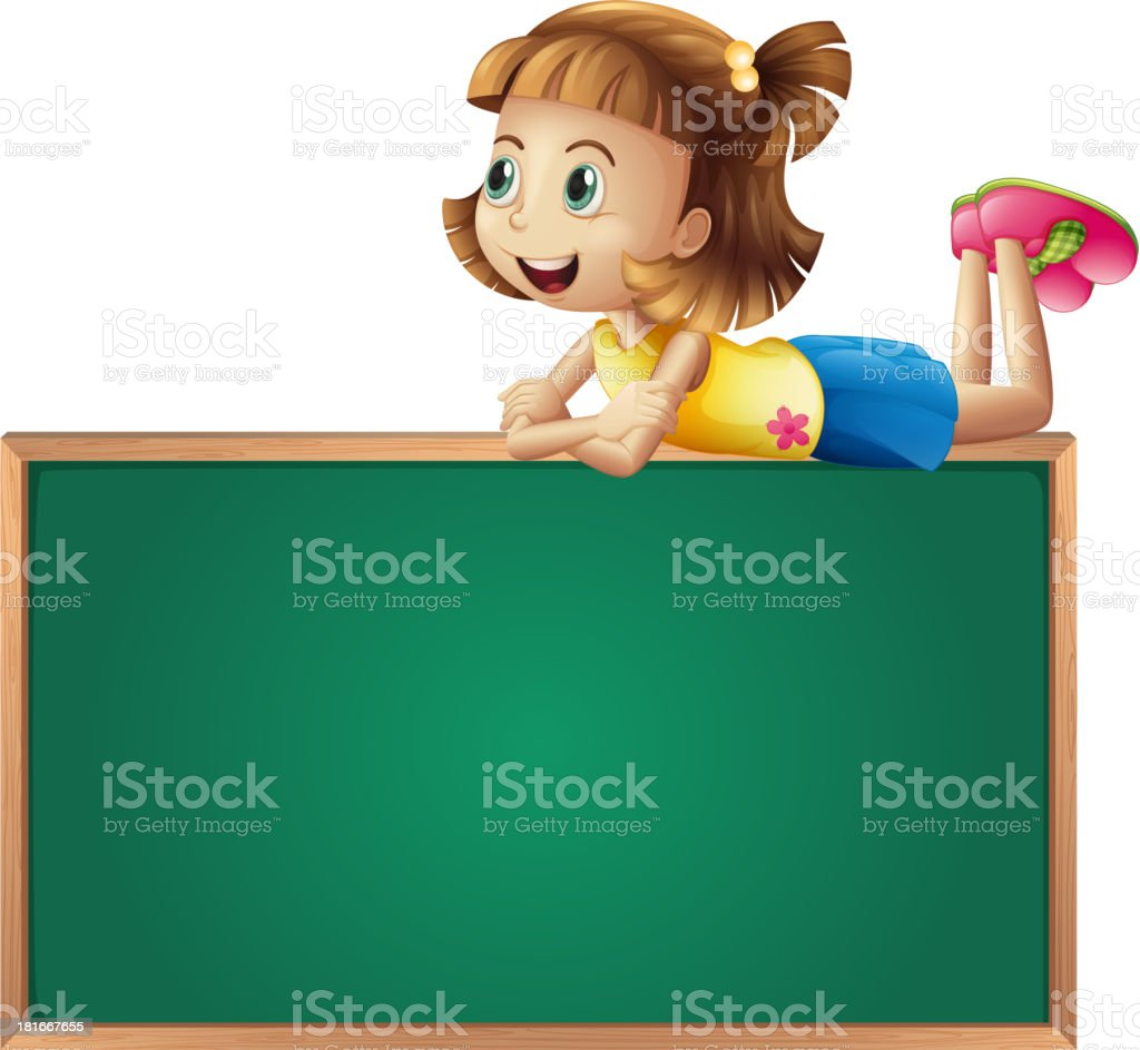 young girl at the top of a board royalty-free stock vector art