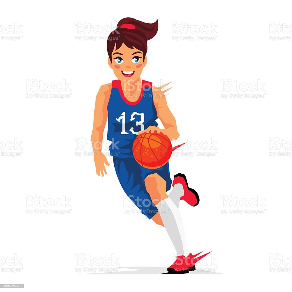 Young girl basketball player vector art illustration