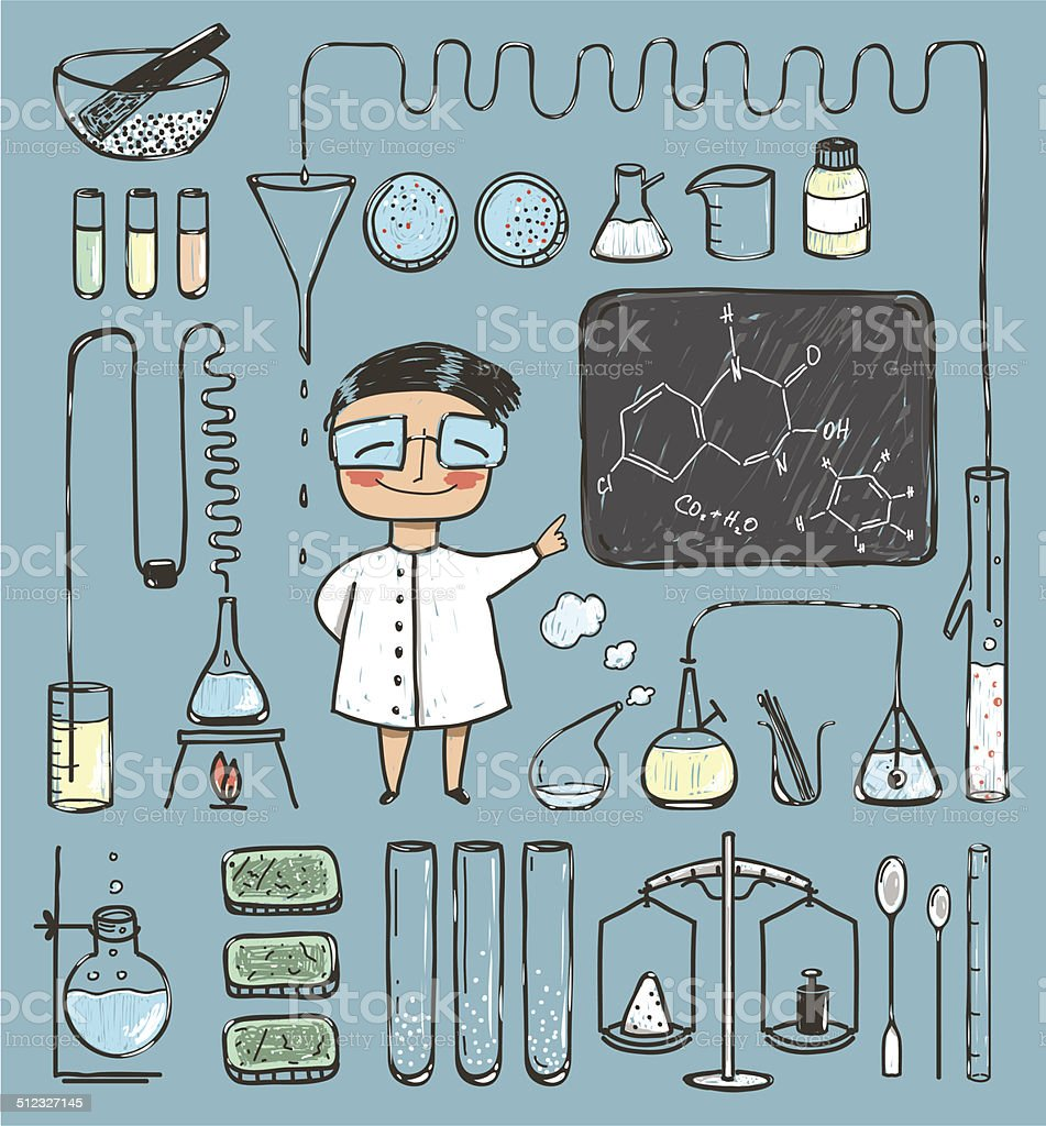 Young Girl Chemist and Laboratory Tools Collection vector art illustration