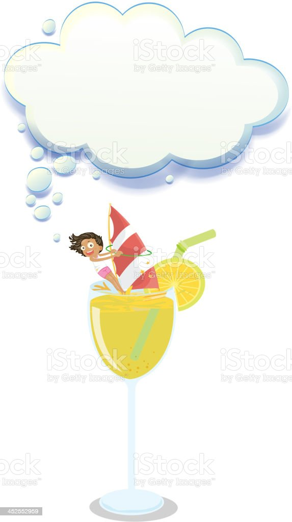 young girl enjoying above glass of juice royalty-free stock vector art
