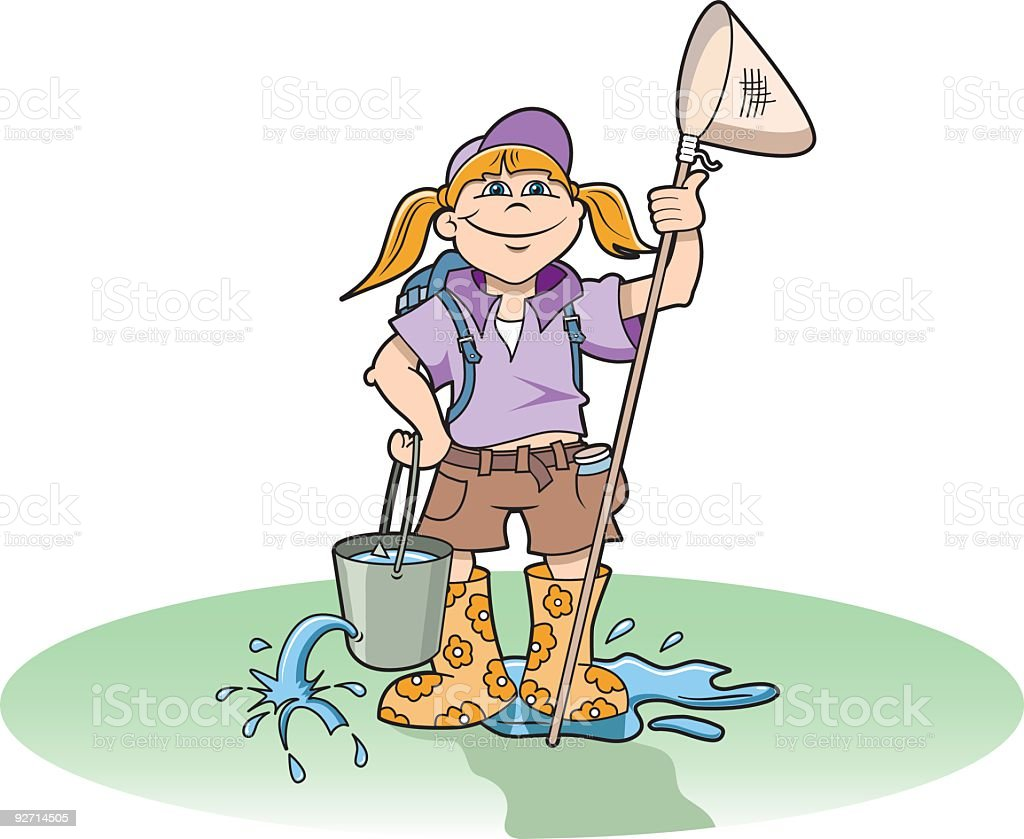 Young girl explorer holding a fishing rod and bucket. royalty-free stock vector art