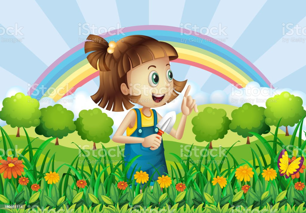 young girl gardening royalty-free stock vector art