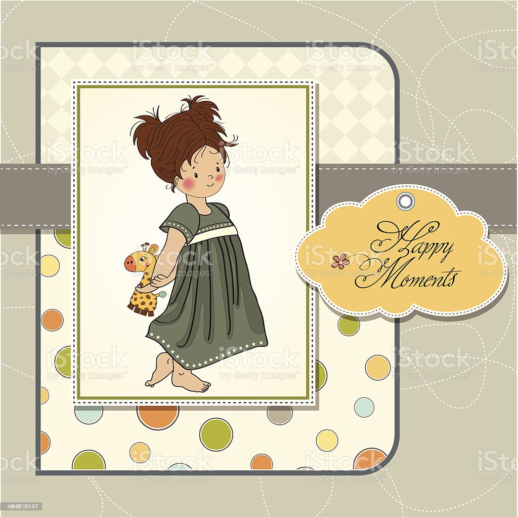 young girl going to bed vector art illustration