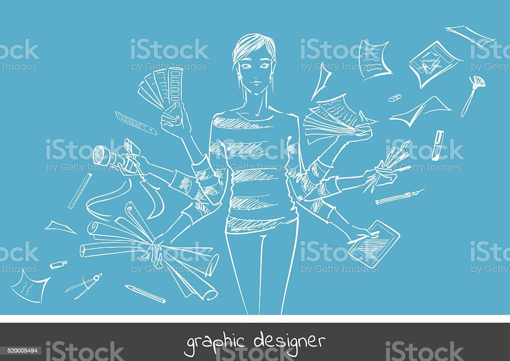 Young girl graphic designer with working tools. vector art illustration