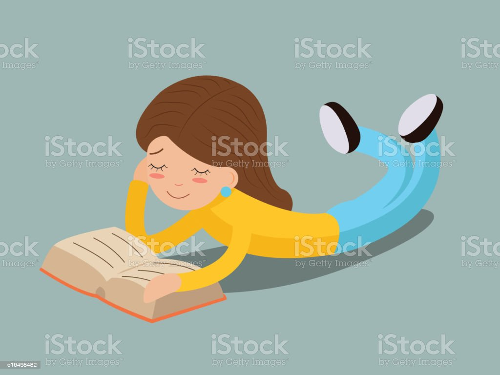 young girl happy smiling reading book lying on floor Characters vector art illustration