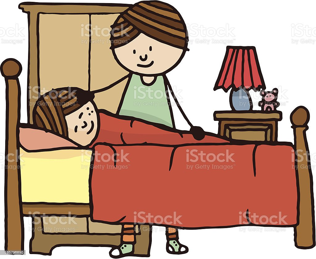 Young girl in bed with mother stood next to her vector art illustration