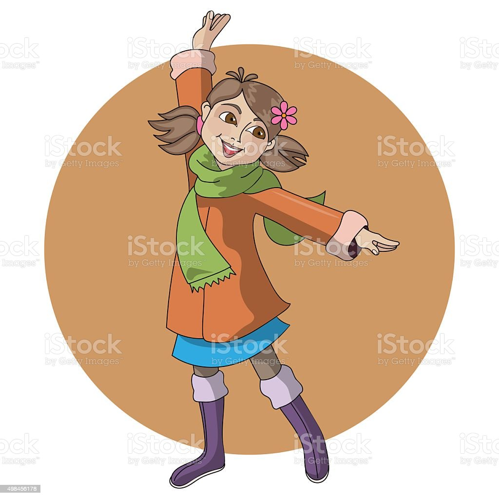 Young girl in coat and boots vector art illustration