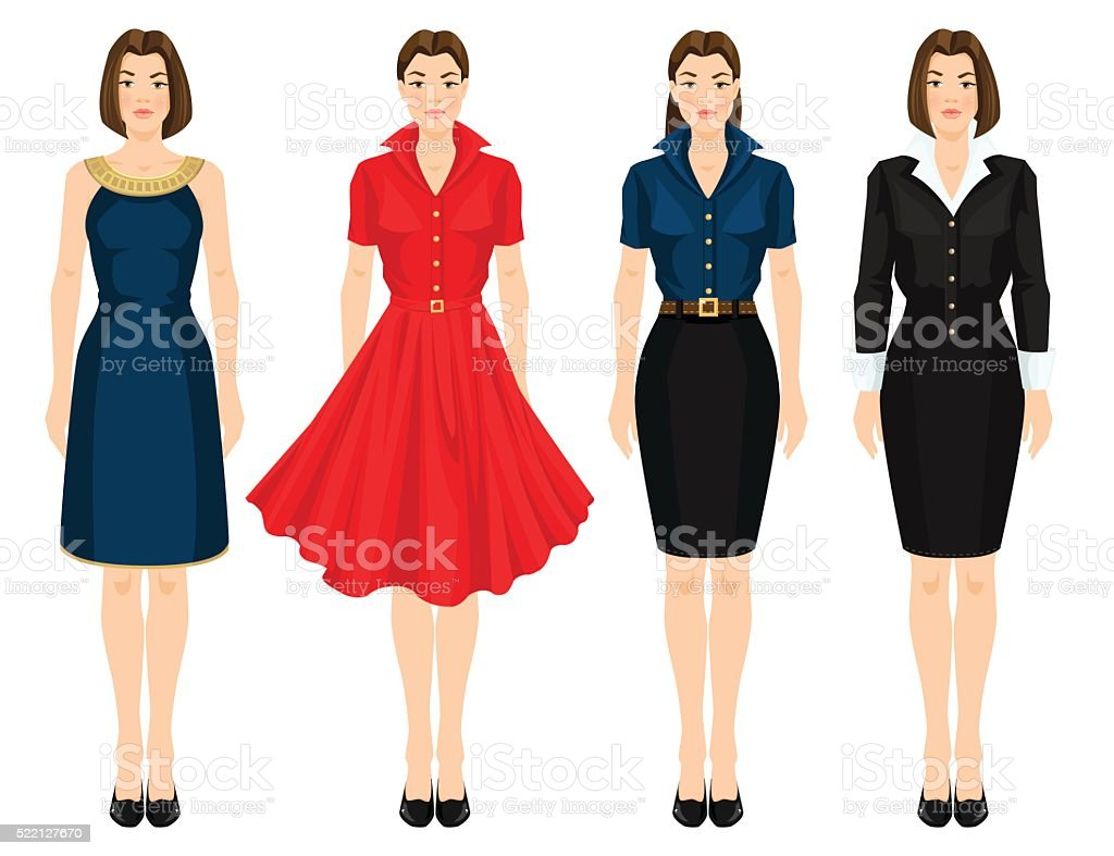 Young girl in different models of dress vector art illustration
