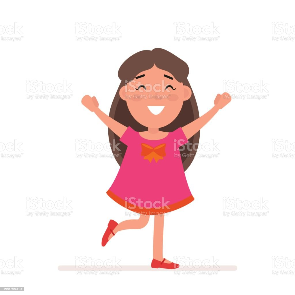 Young girl in red dress with big bow poses. Flat character isolated on white background. Vector, illustration EPS10. vector art illustration