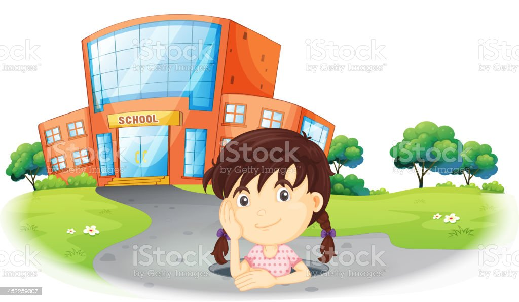 Young girl inside the hole in road royalty-free stock vector art