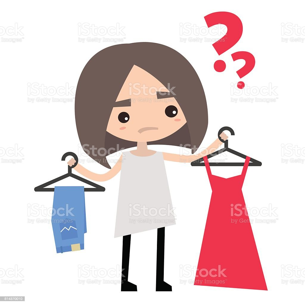 Young girl is trying to decide what to wear vector art illustration