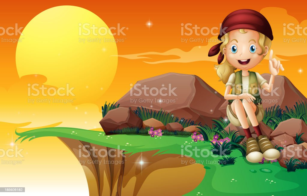 young girl near  cliff siting above the rock royalty-free stock vector art