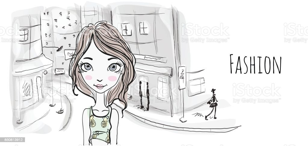 Young girl on the street of an old European city. Vector portrait illustration in sketch style. vector art illustration