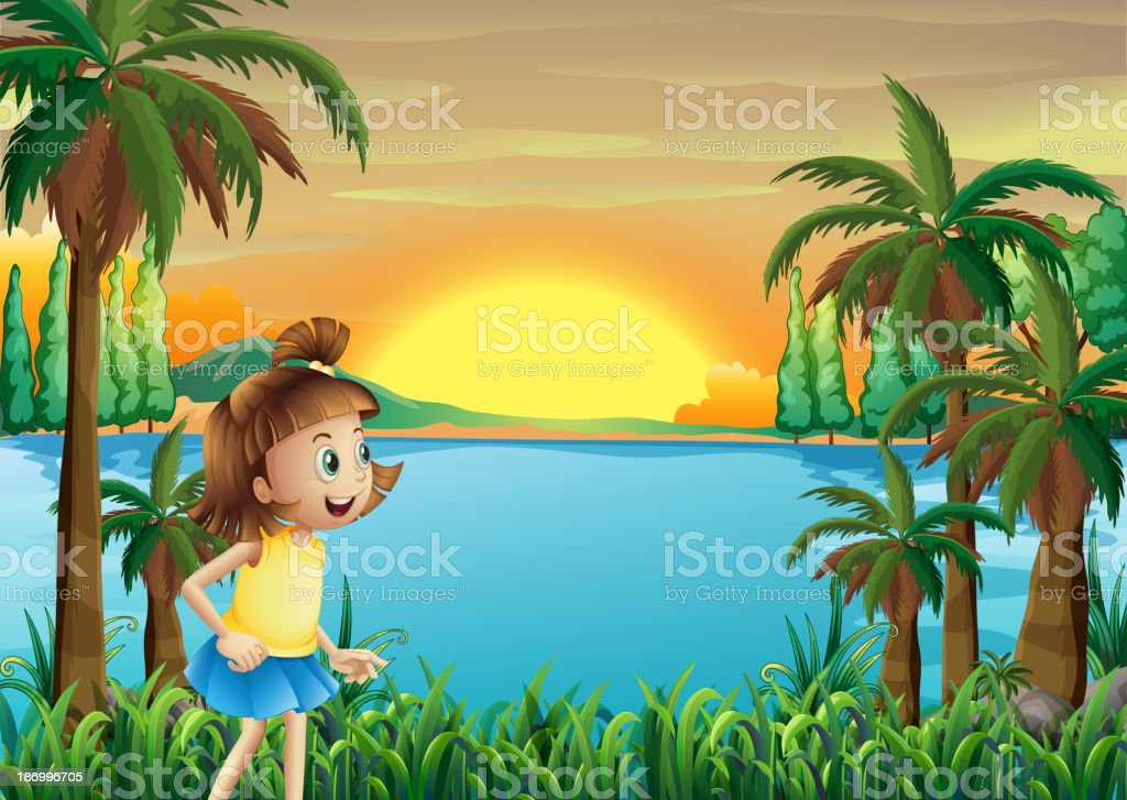 young girl playing near the river royalty-free stock vector art