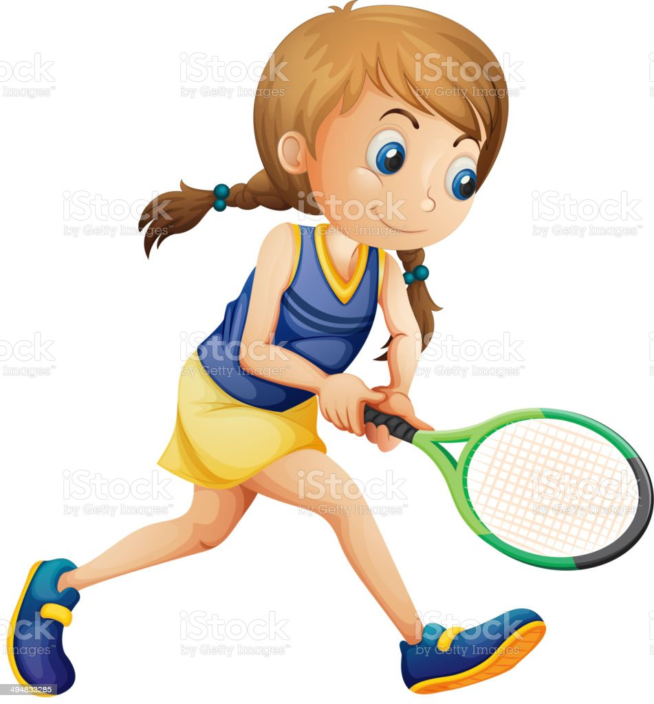 Young girl playing tennis vector art illustration