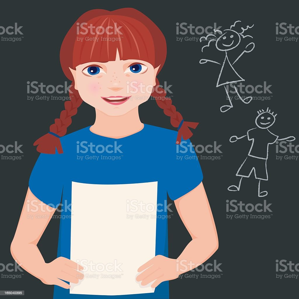 Young girl reading her book report. royalty-free stock vector art