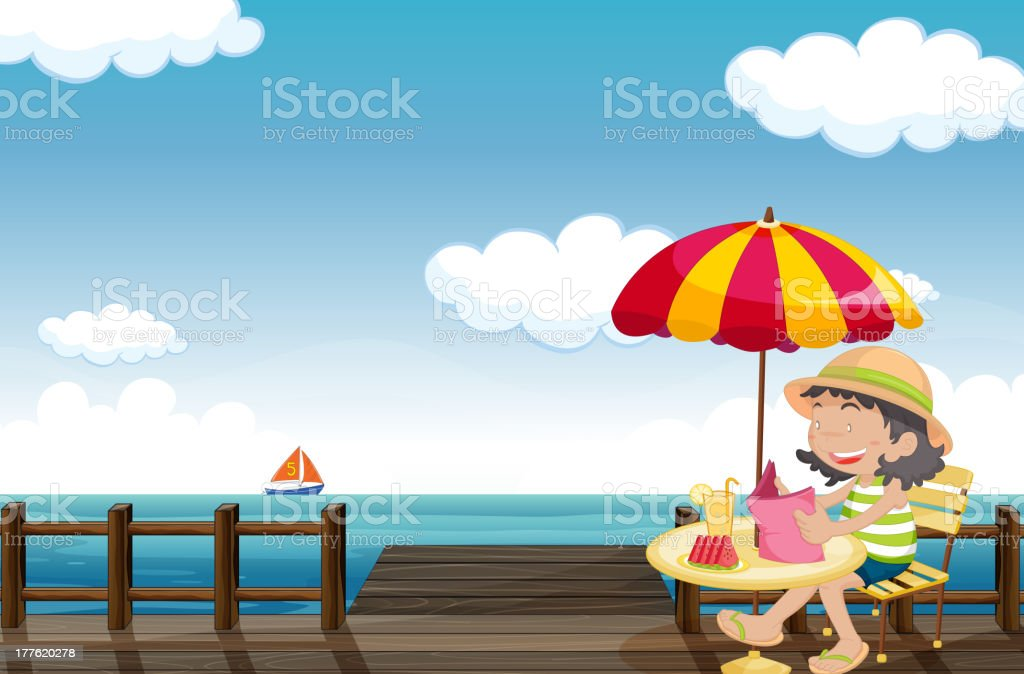 Young girl reading royalty-free stock vector art