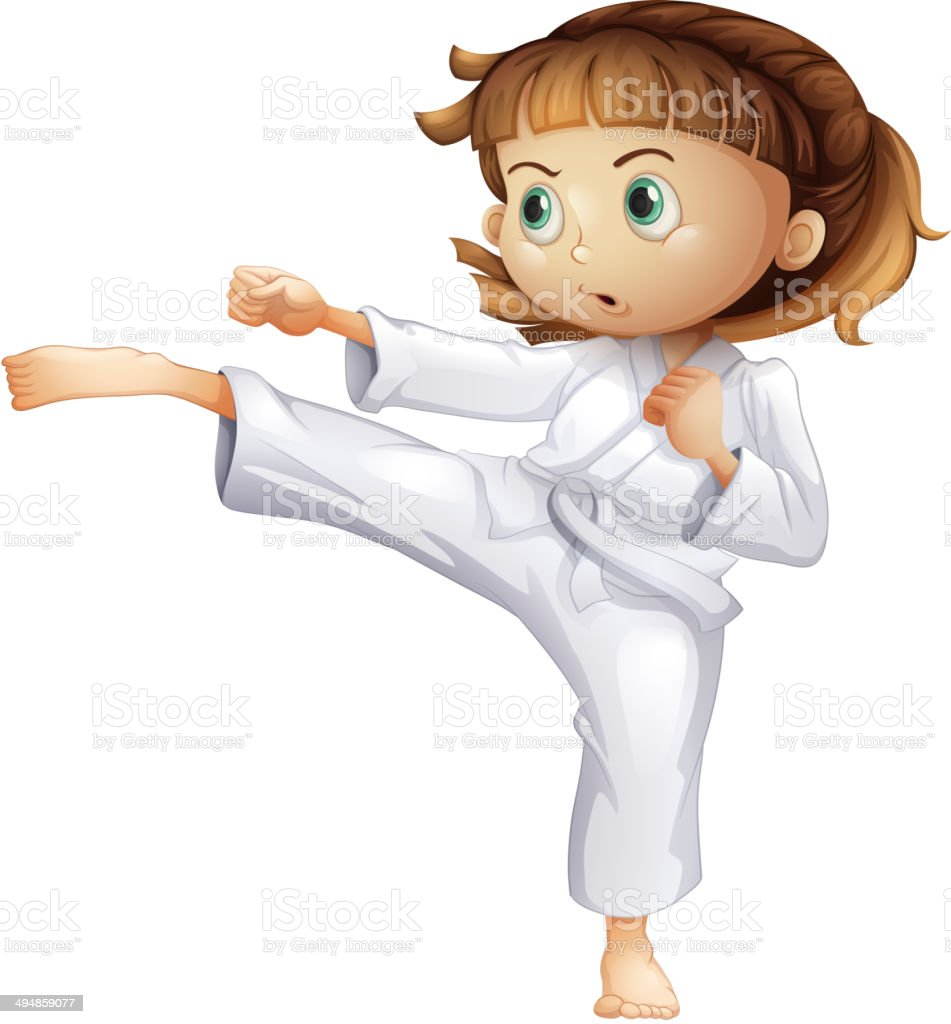 Young girl showing her karate moves royalty-free stock vector art