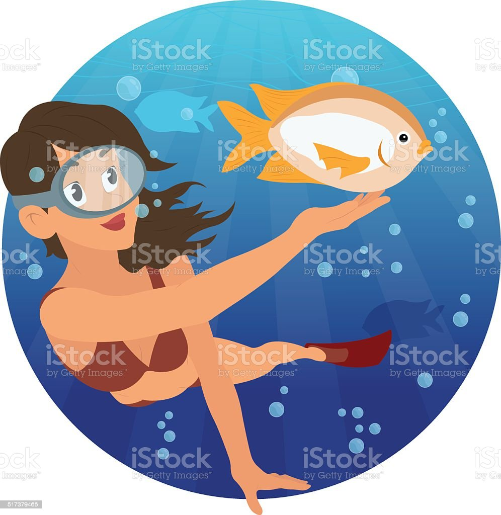 young girl snorkeling and watching the beautiful fish. vector art illustration