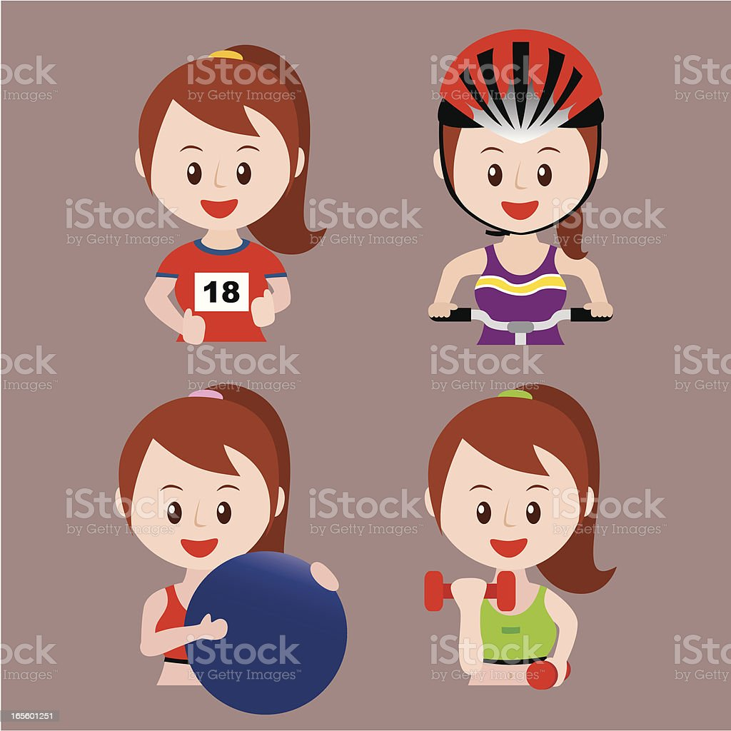 young girl sport set royalty-free stock vector art