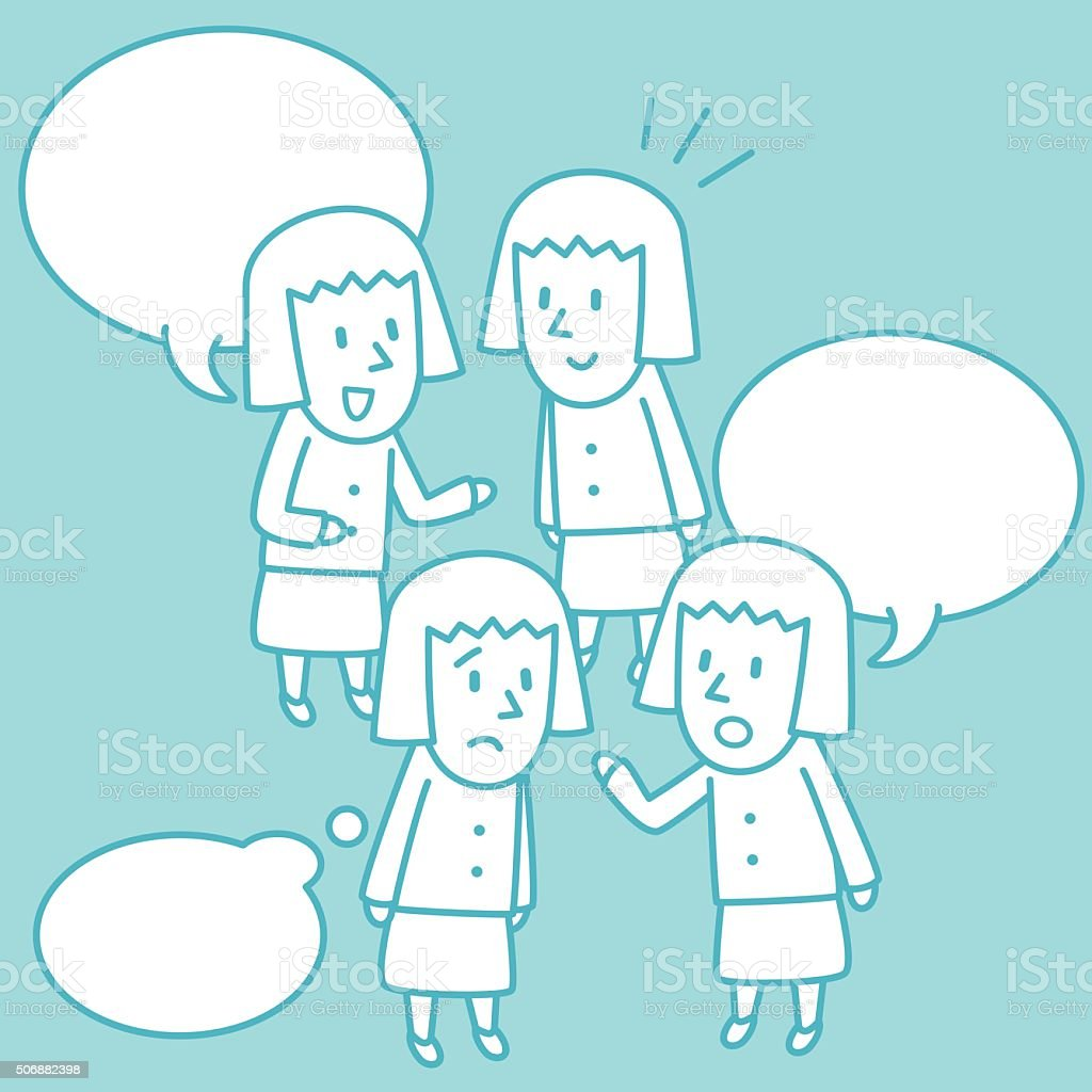 Young Girl Student Doodle Emotion, Talking, Smiling, Angry, Sad vector art illustration