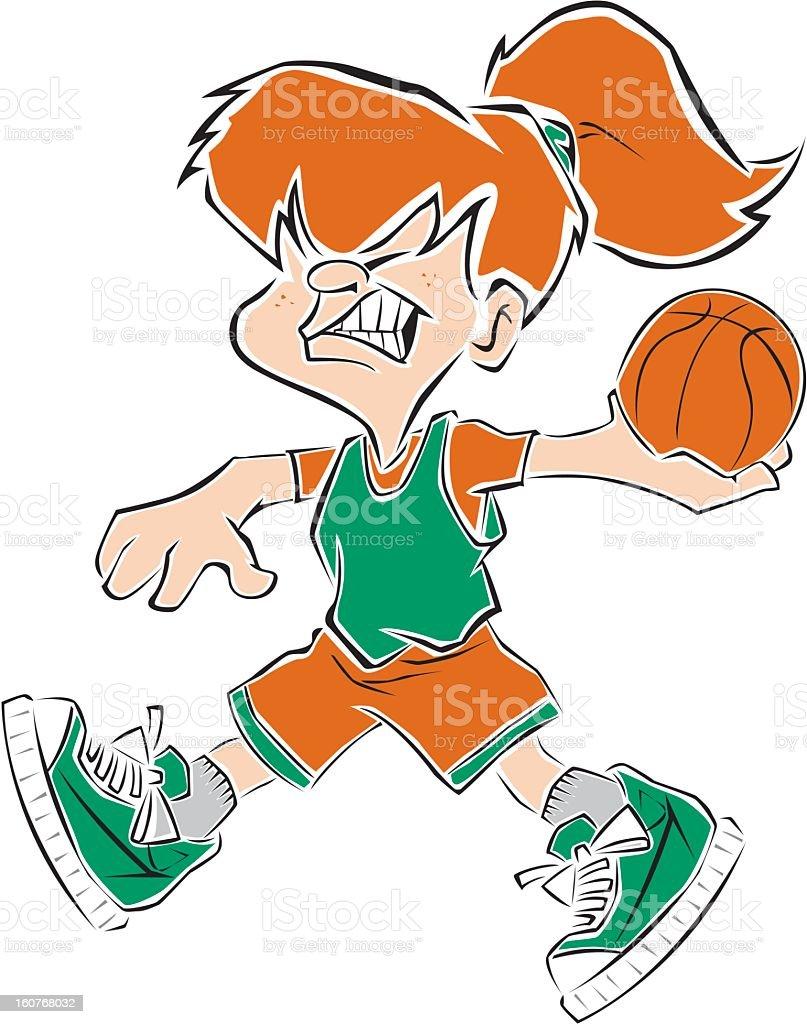 Young girl throwing basketball royalty-free stock vector art