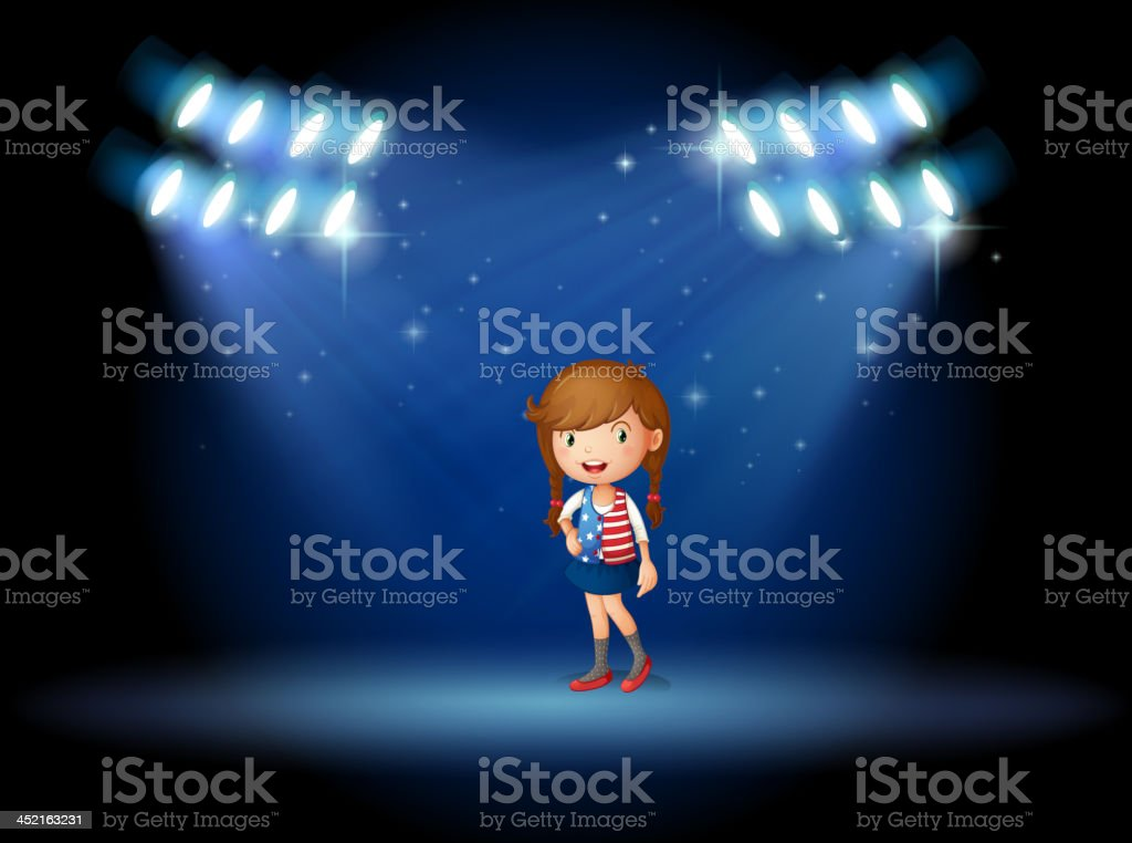 young girl with a long hair at the stage royalty-free stock vector art