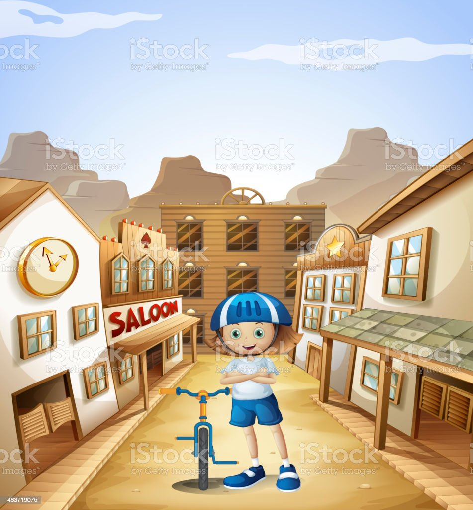 young girl with bicycle standing in middle of saloon bars vector art illustration