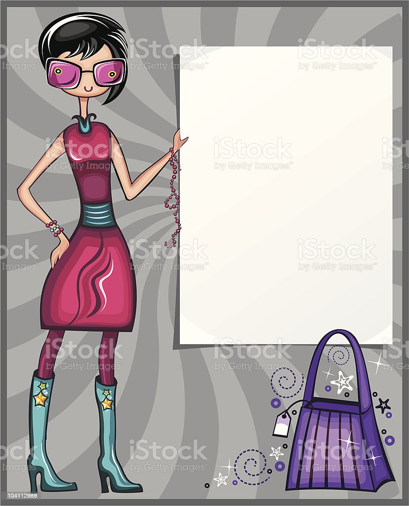 Young girl  with empty board royalty-free stock vector art
