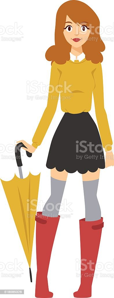 Young girl with multicolored umbrella in nice fashionable clothes and vector art illustration