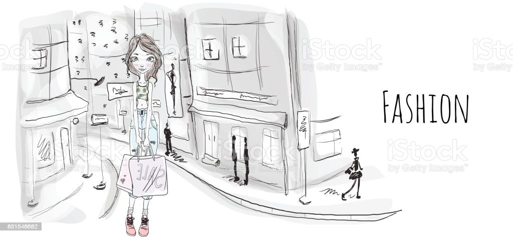 Young girl with shopping bags on the street of city. Vector portrait illustration in sketch style. vector art illustration