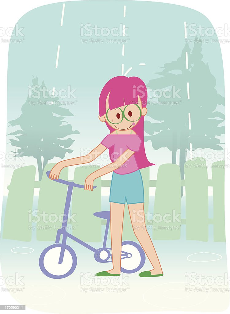 young girls and bike in the rain royalty-free stock vector art