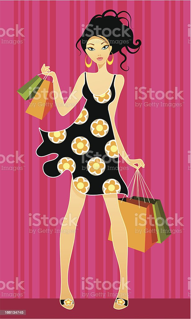 Young girls shopping royalty-free stock vector art