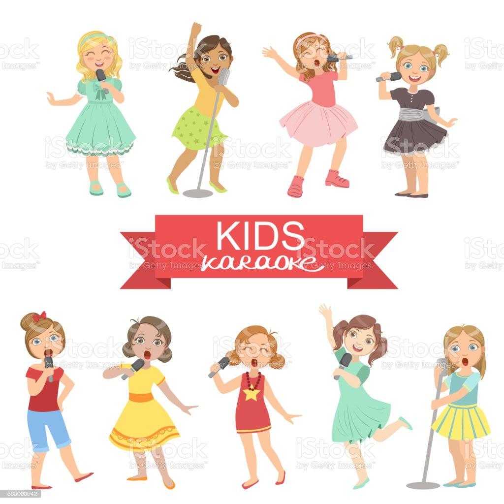Young Girls Singing In Karaoke vector art illustration