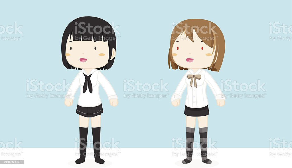young girls wearing student uniform royalty-free stock vector art