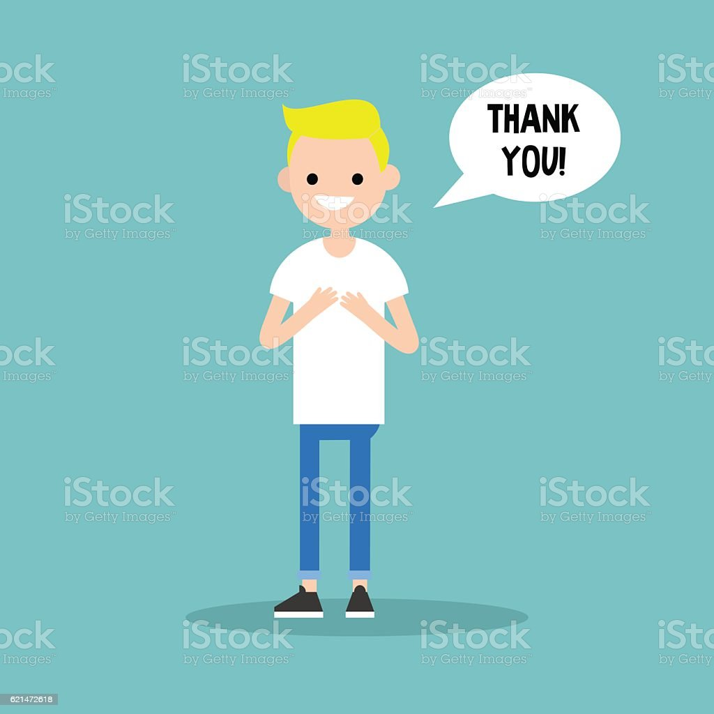 Young grateful blond boy says 'Thank you' vector art illustration
