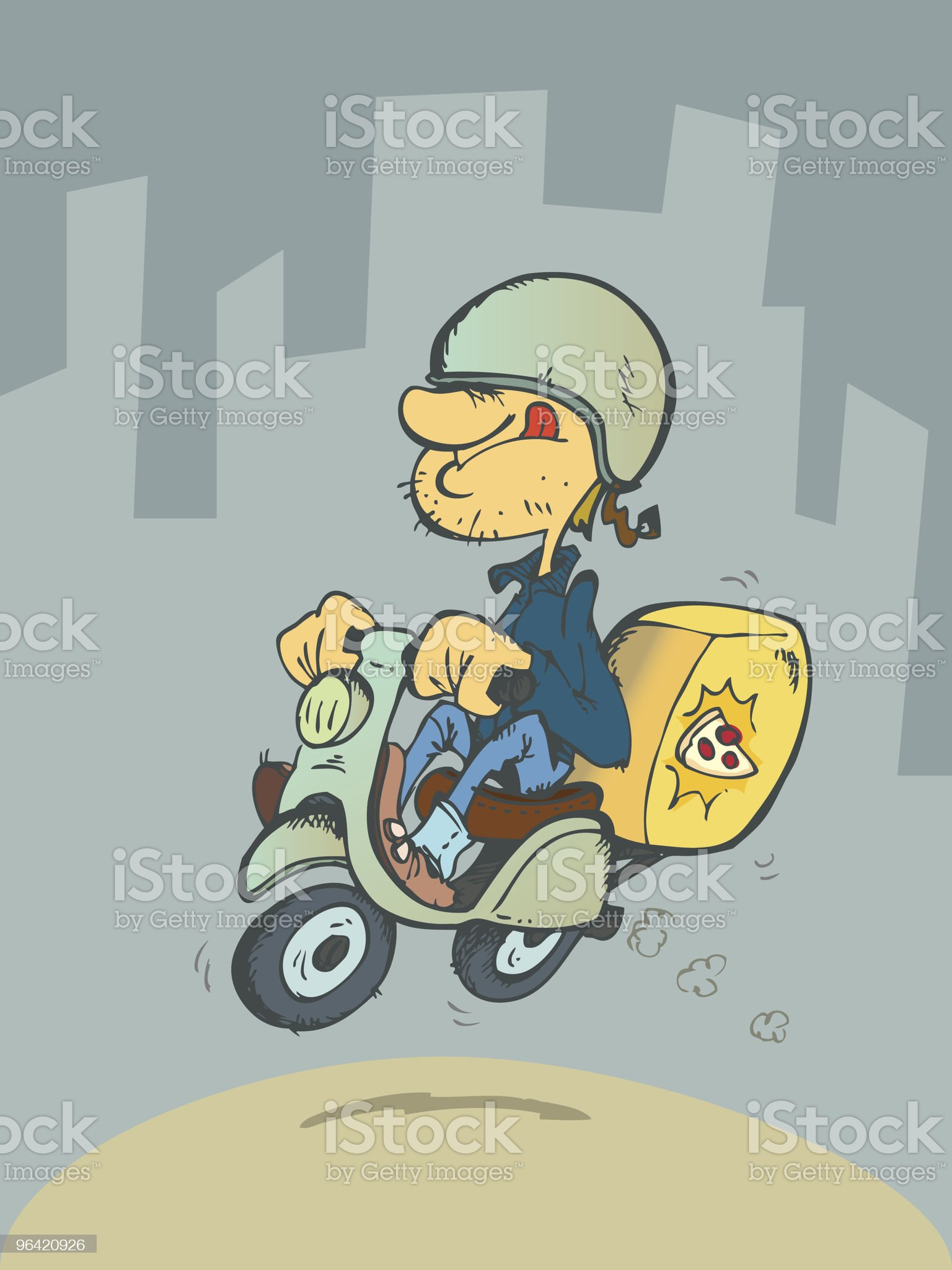 Young guy delivering a pizza on a motorbike royalty-free stock vector art