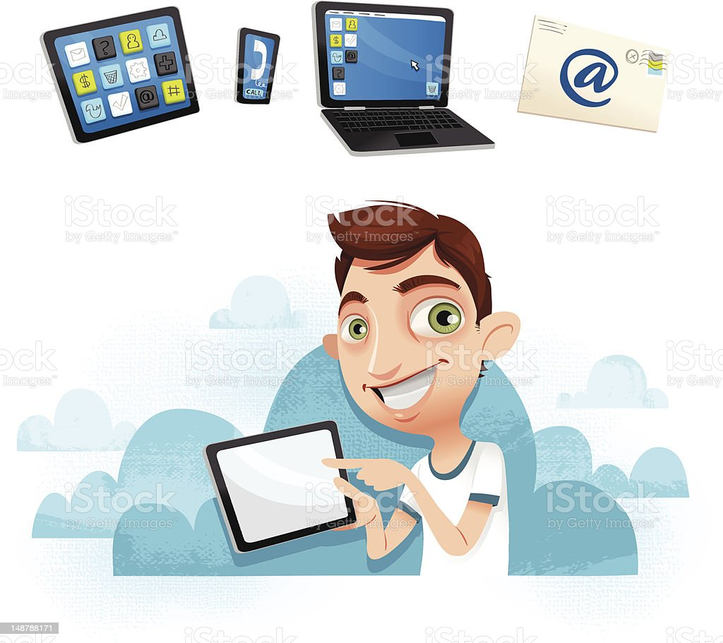 Young guy with tablet - In the cloud! royalty-free stock vector art