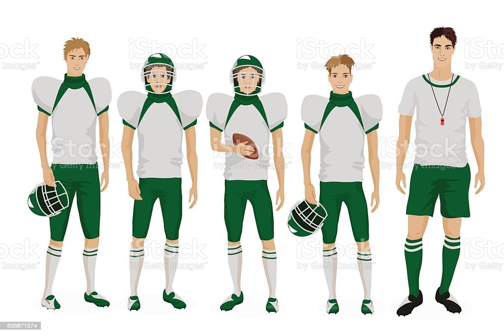 Young guys school american football team with coach trainer. Vector vector art illustration