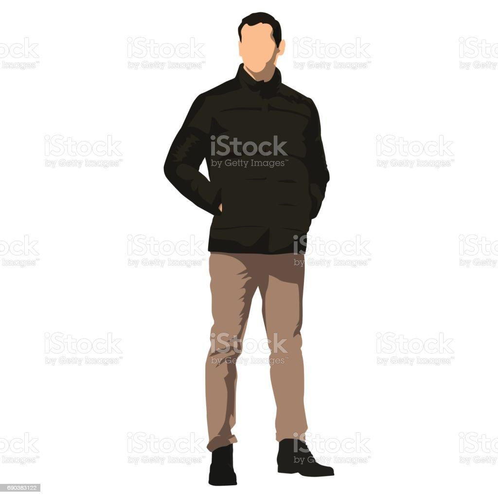 Young handsome man standing in winter clothing. Dark jacket vector art illustration