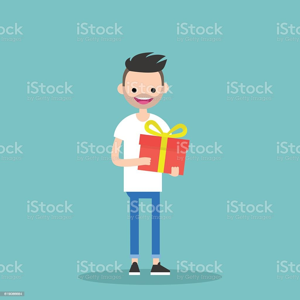Young happy bearded man holding a bright gift box vector art illustration