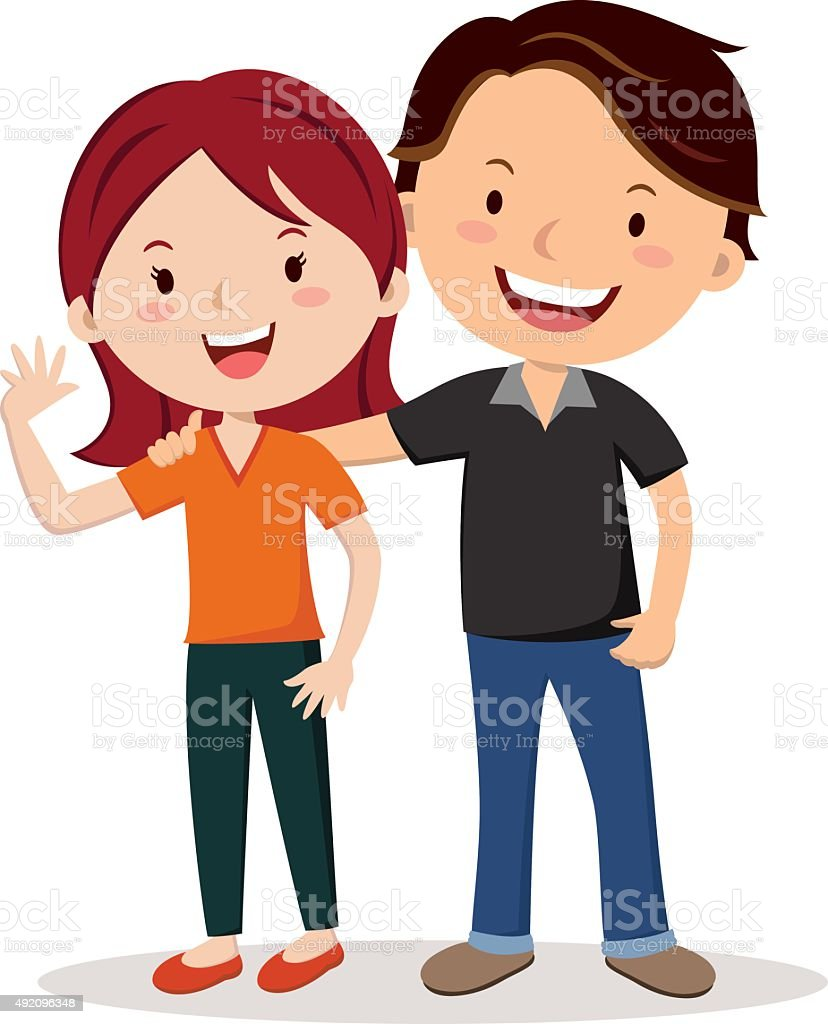 Young happy couple vector art illustration